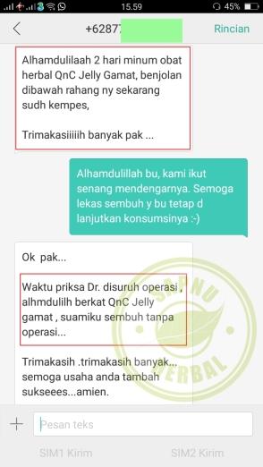 Testimoni QnC Jelly Gamat Benjolan Di Bawah Rahang